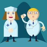 Medico ed infermiere che preparano per il lavoro Fotografia Stock
