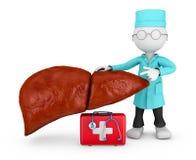 Medico esplora il fegato Fotografia Stock