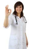 Medico felice - segno giusto Fotografia Stock Libera da Diritti