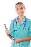 Medico femminile con la lavagna per appunti isolata vicino su Fotografie Stock Libere da Diritti