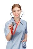 Medico femminile con lo stetoscopio Fotografie Stock Libere da Diritti