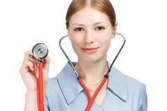 Medico femminile con lo stetoscopio Fotografie Stock