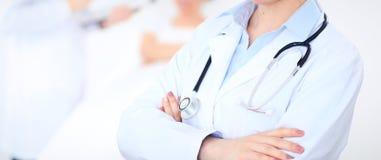 Medico femminile sconosciuto con il personale medico all'ospedale Primo piano dello stetoscopio Fotografie Stock Libere da Diritti