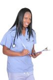 Medico femminile sopra bianco Immagini Stock