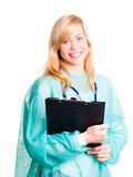 Medico femminile sorridente con lo stetoscopio Fotografia Stock Libera da Diritti