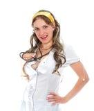 Medico femminile sveglio con lo stetoscopio Immagine Stock Libera da Diritti