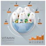 Medico globale e salute Infographic con la vitamina rotonda del cerchio Fotografie Stock