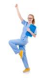 Medico grazioso di dancing Fotografia Stock Libera da Diritti