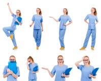 Medico grazioso di dancing in uniforme del blu con i documenti Fotografia Stock Libera da Diritti
