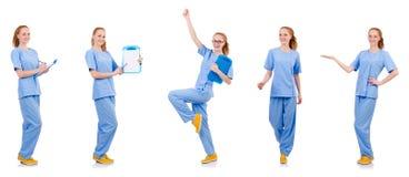 Medico grazioso di dancing in uniforme del blu con i documenti isolati Fotografia Stock Libera da Diritti