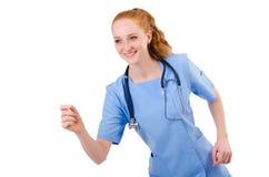 Medico grazioso in uniforme del blu Fotografia Stock