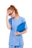 Medico grazioso in uniforme del blu Fotografie Stock Libere da Diritti