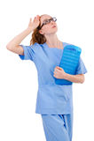 Medico grazioso in uniforme del blu Fotografie Stock