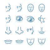 Medico: Icone della chirurgia estetica messe illustrazione vettoriale
