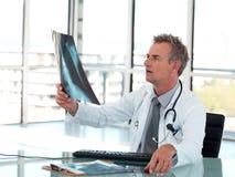 Medico maggiore che osserva i raggi X Immagine Stock Libera da Diritti