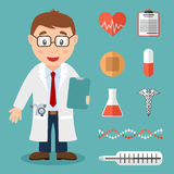 Medico maschio bianco ed icone mediche piane illustrazione vettoriale