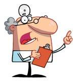 Medico maschio che tiene i appunti e che hollering Fotografia Stock