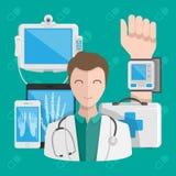 Medico maschio con attrezzatura medica su un fondo blu Concetto del pacchetto di salute di Digital Illustrazione di vettore illustrazione vettoriale