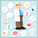 Medico nello stile del fumetto Insieme delle icone su un tema medico Fotografia Stock