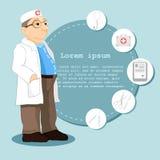Medico nello stile del fumetto Insieme delle icone su un tema medico Illustrazione di un medico che sta davanti alle tavole di in Immagine Stock