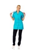 Medico o infermiere femminile di sorriso con lo stetoscopio Immagine Stock Libera da Diritti