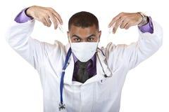 Medico pazzesco con l'iniezione di influenza dei maiali Fotografia Stock Libera da Diritti
