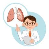 Medico per una descrizione dei polmoni Fotografia Stock
