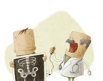 Medico rende al paziente i raggi x del corpo Immagini Stock Libere da Diritti