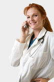 Medico su una chiamata Immagine Stock