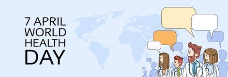 Medico Team Group Over World Map con il giorno sano della bolla di chiacchierata Fotografia Stock Libera da Diritti