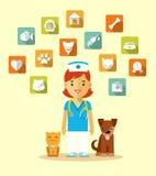 Medico veterinario ed icone messi Fotografia Stock Libera da Diritti