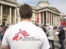 Medics Under Fire. Rally in Trafalgar Square. stock photos