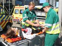 Medics and Victim stock photos