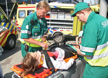 Medics and Victim Stock Image
