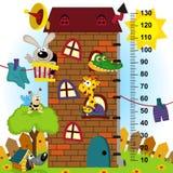 Medida da altura da casa (no original proporciona o 1:4) ilustração royalty free