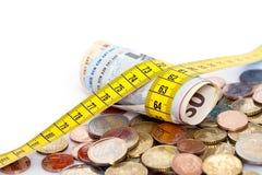 Medida de fita em torno dos euro Foto de Stock