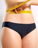 Medida de fita para a medição da cintura fotografia de stock