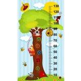 medida de la altura de la casa en el árbol stock de ilustración