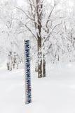 Medida de la altura de la nieve imagen de archivo