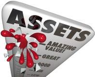 Medida do aumento da riqueza das palavras do nível do valor do termômetro dos ativos Foto de Stock Royalty Free