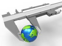 Medida do conceito da terra dos compassos de calibre ilustração do vetor