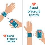 Medida e monitoração da pressão sanguínea com dispositivos modernos e aplicações móveis Homem que verifica a sagacidade arterial  ilustração stock