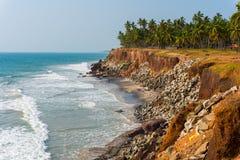Medidas da proteção de costa em Kerala, Índia Fotos de Stock Royalty Free