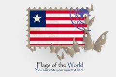 Medidas de la bandera del vector con las mariposas del papel stock de ilustración
