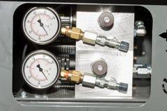 Medidas industriales como parte de la máquina del CNC imagen de archivo