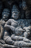 Medidating and sitting Stone carving at Borobudur Stock Image