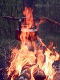Medidation nära branden arkivbild