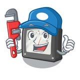 Medidor da amperagem do encanador acima da tabela dos desenhos animados ilustração stock
