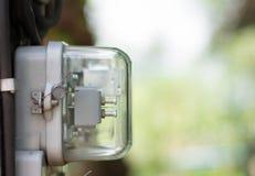 Medidor da eletricidade da hora de quilowatt, medidor da fonte de alimentação, símbolo da hora fotografia de stock