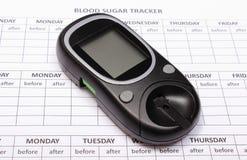 Medidor da glicose em formulários médicos vazios para o diabetes Imagens de Stock Royalty Free